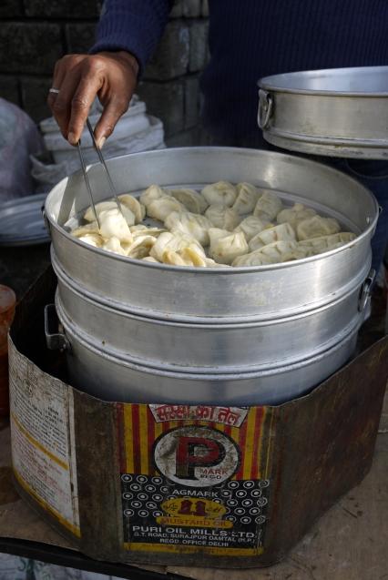 Momo stall outside Dalai Lama's temple