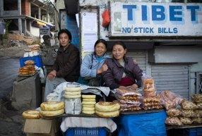 Tibetan bread sellers