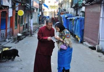 Asking directions from a Tibetan monk