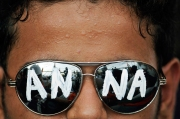 Supporter of Indian anti-corruption campaigner Anna Hazare. Photo by Tsering Topgyal.