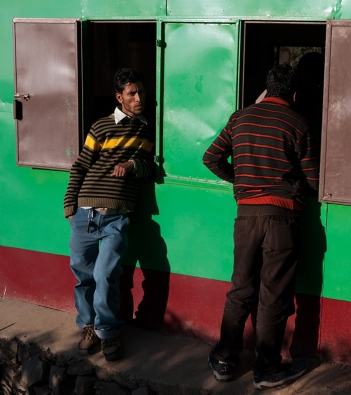 Men at the auto rickshaw stand, McLeodganj. Photo by Angus McDonald