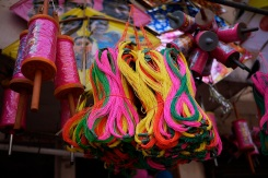 Kite string for sale in Baroda, Gujarat, India ahead of the annual Uttarayan, or Makar Sakranti, kite flying festival. Photo by Angus McDonald