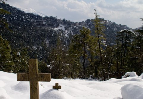 Snowfall in the cemetery of the Church of St John in the Wilderness near McLeodganj, Dharamshala, January 2012. Photo by Ashwini Bhatia