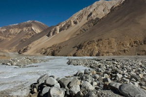 Frozen stream near Pangong Lake, Ladakh, India. Photo by Angus McDonald