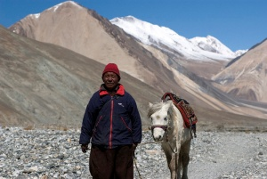A man leads a horse near Pangong Lake, Ladakh, India. Photo by Angus McDonald