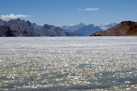 Melting ice on Pangong Lake, Ladakh, India. Photo by Angus McDonald