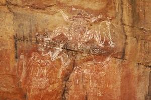 Image of Aboriginal spirit Nabulwinjbulwinj at Nourlangie Rock, Kakadu National Park, Australia. Photo by Angus McDonald