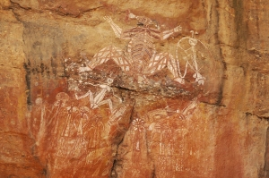 Image of Aboriginal spirit Nabulwinjbulwinj at Nourlangie Rock, Kakadu National Park, Australia. Photo by Angus McDonald