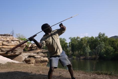 Indigenous guide Mardediydiy demonstrates spear throwing at Kakadu National Park, Australia. Photo by Angus McDonald