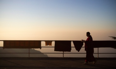 A monk at sunrise at Kirty Monastery, Dharamshala. Photo by Ashwini Bhatia
