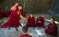 Monks engage in traditional philosophical debate at Kirti Monastery, Dharamshala. Photo by Ashwini Bhatia