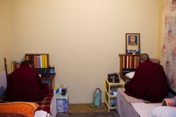 Monks study in their room at Kirti Monastery, Dharamshala. Photo by Ashwini Bhatia